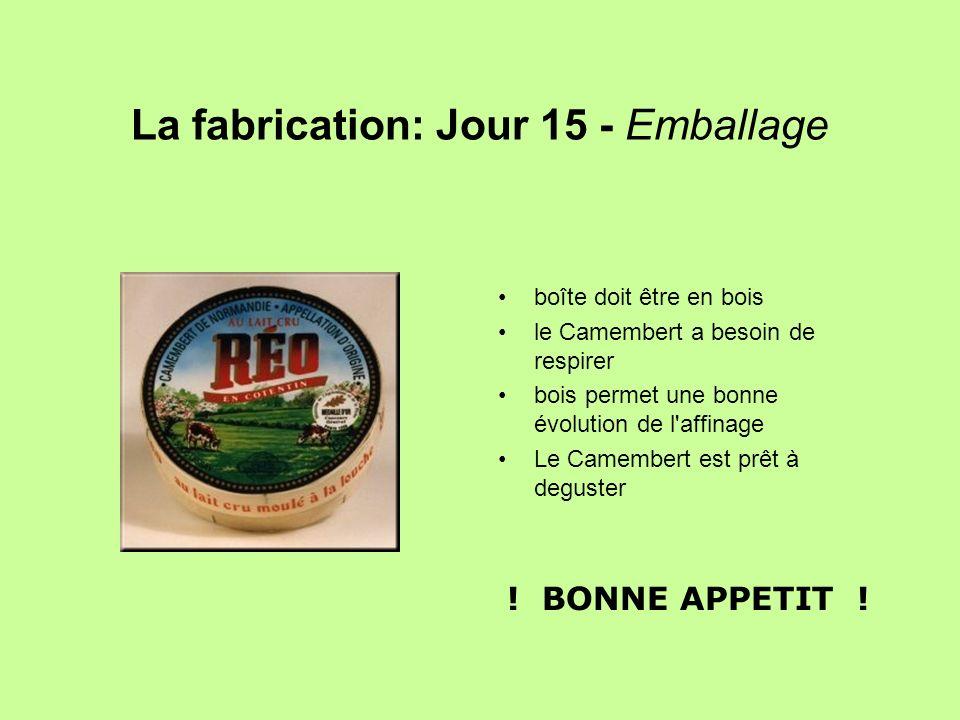 La fabrication: Jour 15 - Emballage boîte doit être en bois le Camembert a besoin de respirer bois permet une bonne évolution de l'affinage Le Camembe