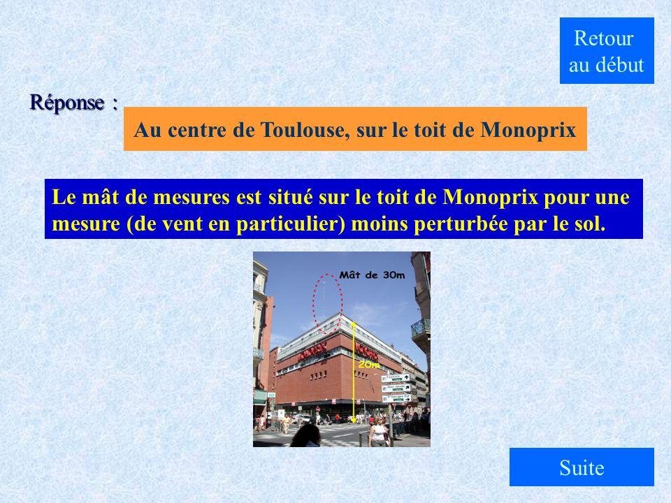 A. Au centre de Toulouse, sur le toit de Monoprix B. Dans un champ à Muret C. Au centre de Toulouse sur la place du Capitole Où est situé le mât de me