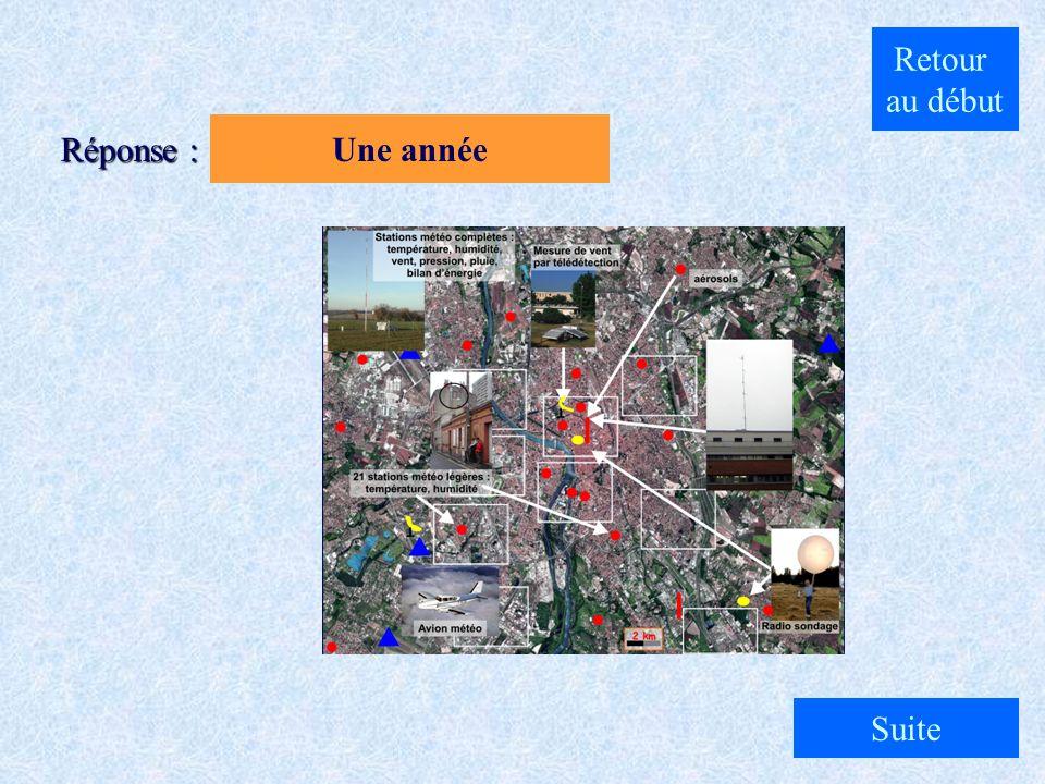 A. Une semaine B. Une année C. Un mois Quelle est la durée de l'expérience sur Toulouse ? Question 3 : Cliquez sur la réponse qui vous semble exacte..