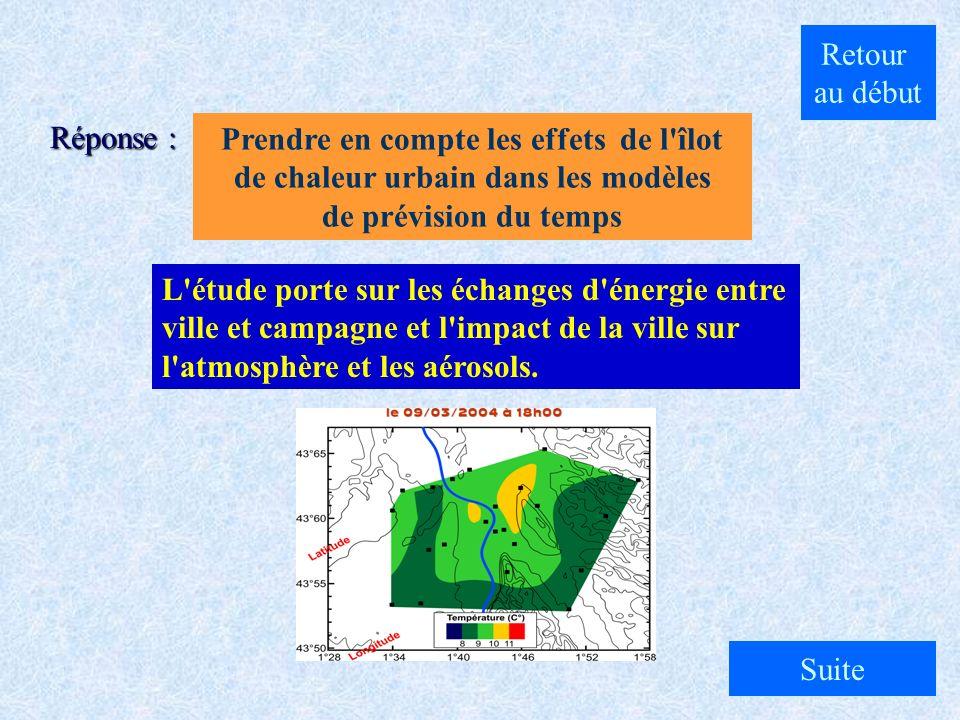 A. Etudier la météorologie à la campagne B. Etudier les aérosols provenant de la campagne C. Prendre en compte les effets de l'îlot de chaleur urbain