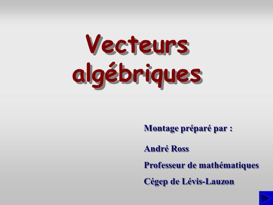 Angles directeurs Les angles directeurs dun vecteur algébrique de R 3 sont les angles notés (alpha), (bêta) et (gamma), que le vecteur fait avec les axes orientés x, y et z respectivement : u oùest le module du vecteur.