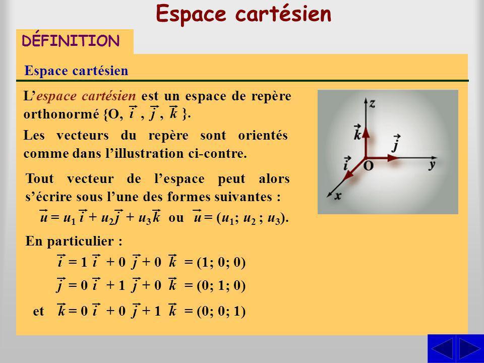 Lespace cartésien est un espace de repère orthonormé {O, Espace cartésien DÉFINITION Espace cartésien ij, }. Les vecteurs du repère sont orientés comm