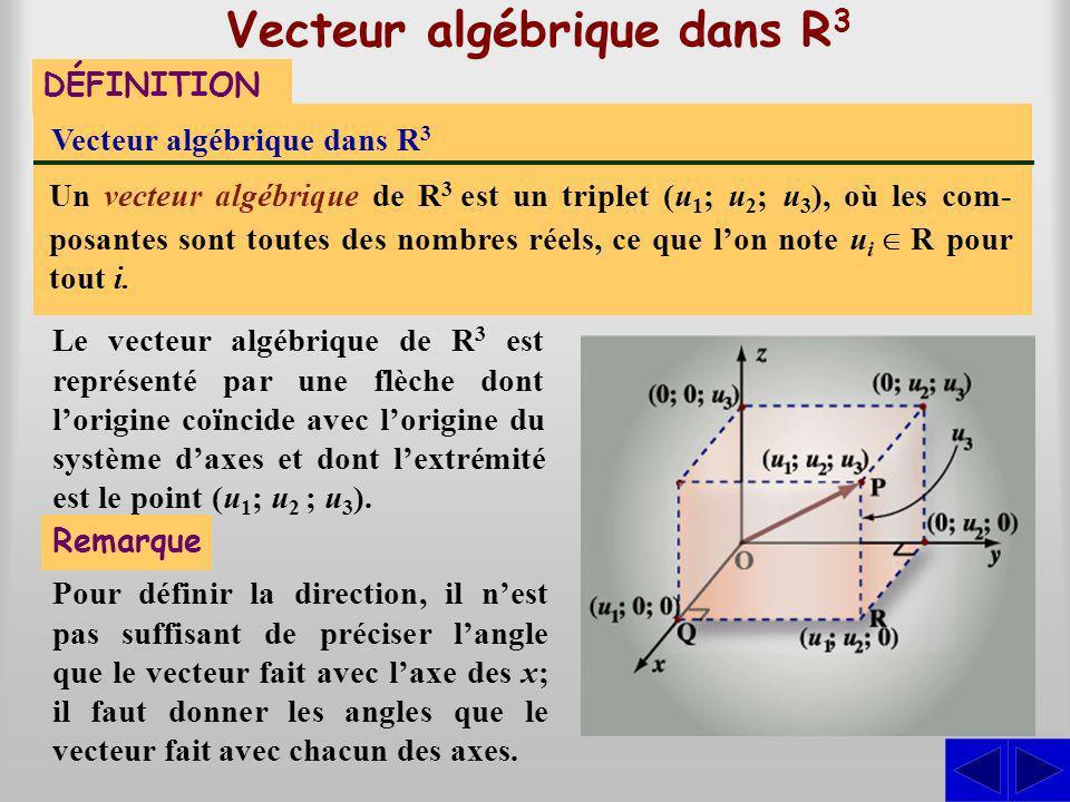 Vecteur algébrique dans R 3 DÉFINITION Vecteur algébrique dans R3R3 Un vecteur algébrique de R 3 est un triplet (u 1 ; u 2 ; u 3 ), où les com- posant