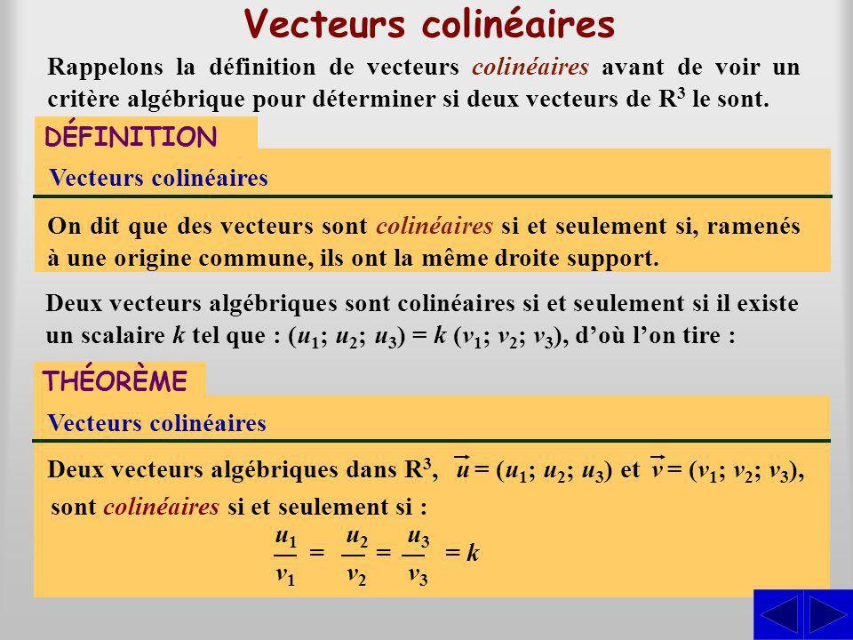On dit que des vecteurs sont colinéaires si et seulement si, ramenés à une origine commune, ils ont la même droite support. Vecteurs colinéaires DÉFIN