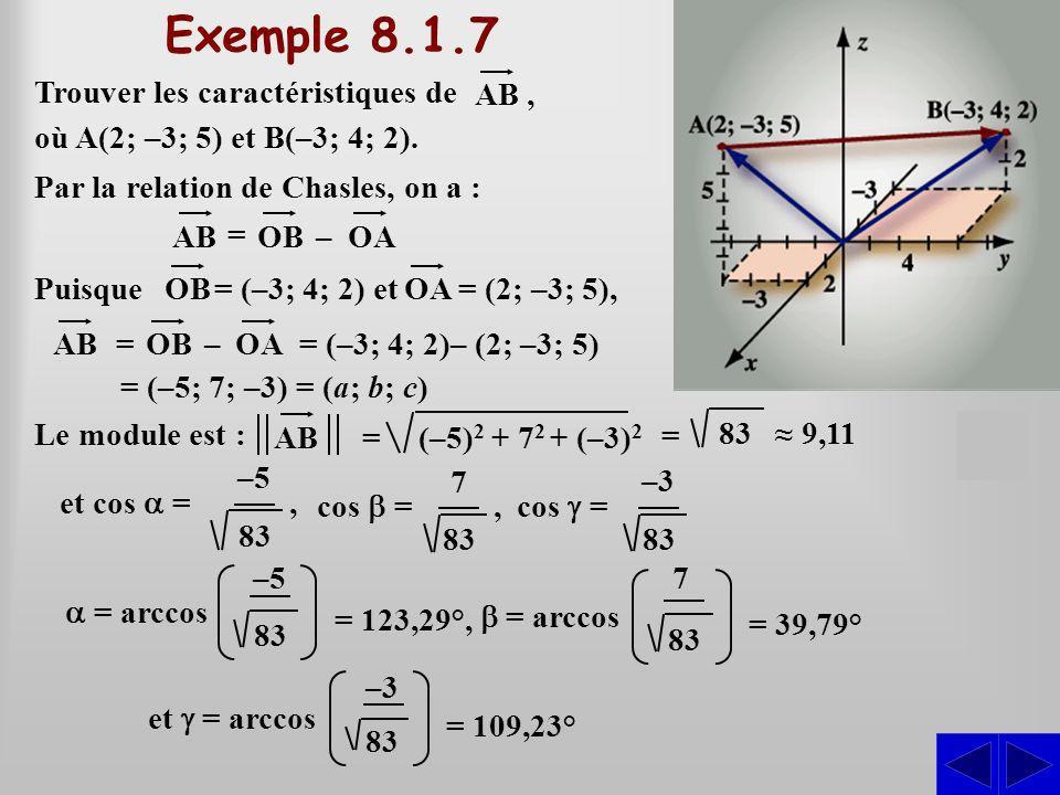Trouver les caractéristiques de (–5) 2 + 7 2 + (–3) 2 = Puisque 83 9,11 Le module est : S où A(2; –3; 5) et B(–3; 4; 2). AB, Par la relation de Chasle