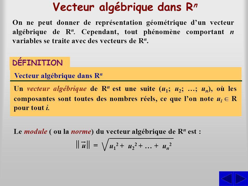 Vecteur algébrique dans R n DÉFINITION Vecteur algébrique dans R n Un vecteur algébrique de R n est une suite (u 1 ; u 2 ; …; u n ), où les composante