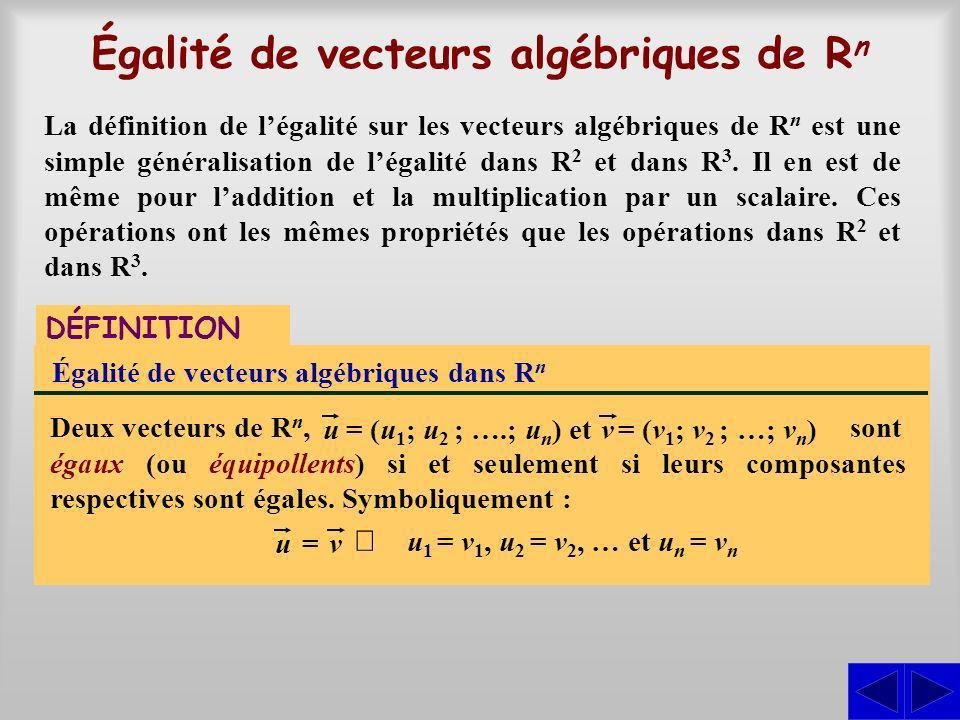 sont égaux (ou équipollents) si et seulement si leurs composantes respectives sont égales. Symboliquement : Égalité de vecteurs algébriques de R n DÉF