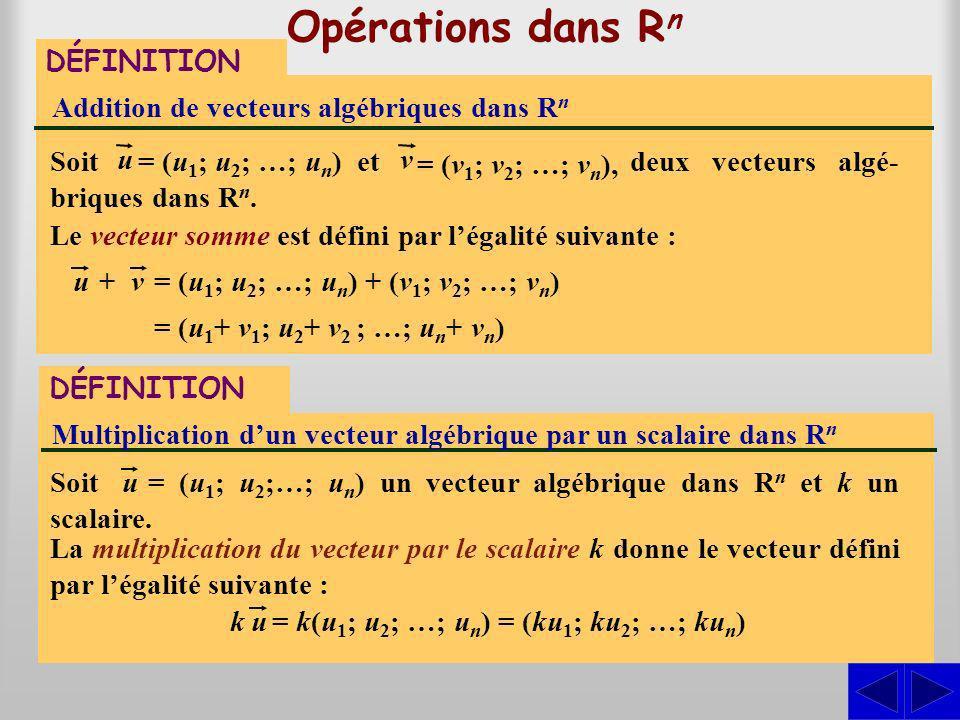 S deux vecteurs algé- briques dans Rn.Rn. Opérations dans R n DÉFINITION Addition de vecteurs algébriques dans R n Soit Le vecteur somme est défini pa