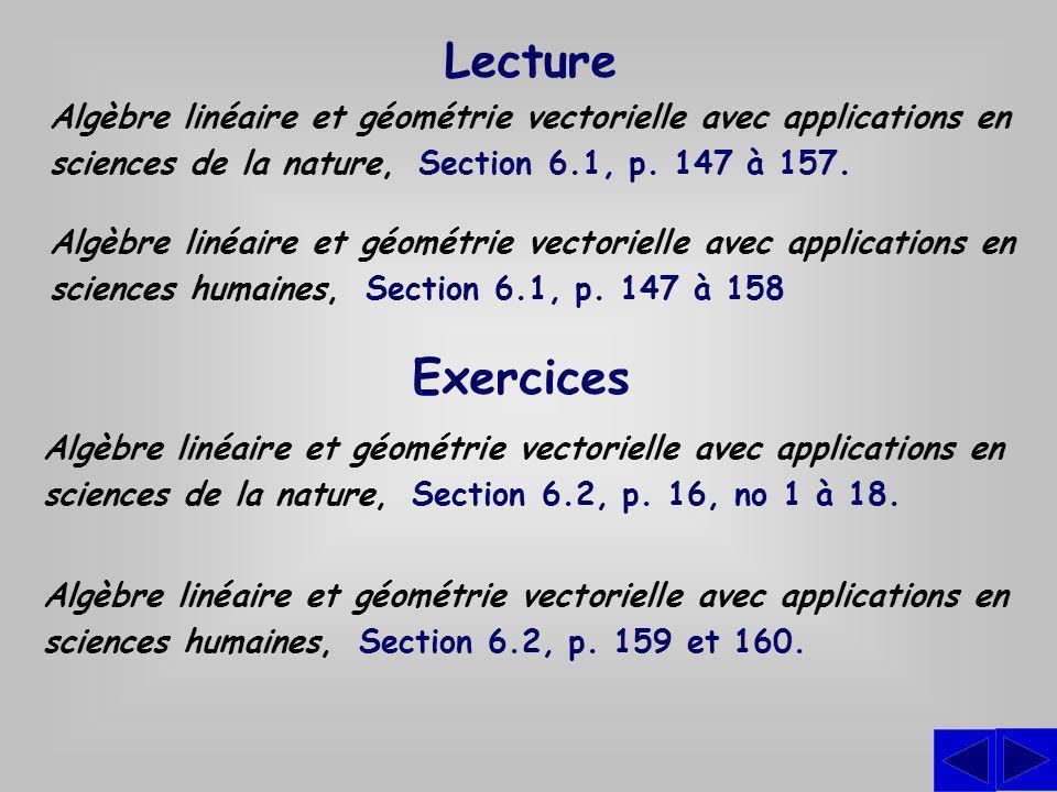 Exercices Algèbre linéaire et géométrie vectorielle avec applications en sciences de la nature, Section 6.2, p. 16, no 1 à 18. Algèbre linéaire et géo