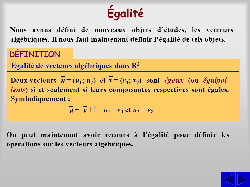 Opérations DÉFINITIONS Addition de vecteurs algébriques dans R 2 Le vecteur somme est défini par légalité suivante :, deux vec- teurs algébriques dans R 2.