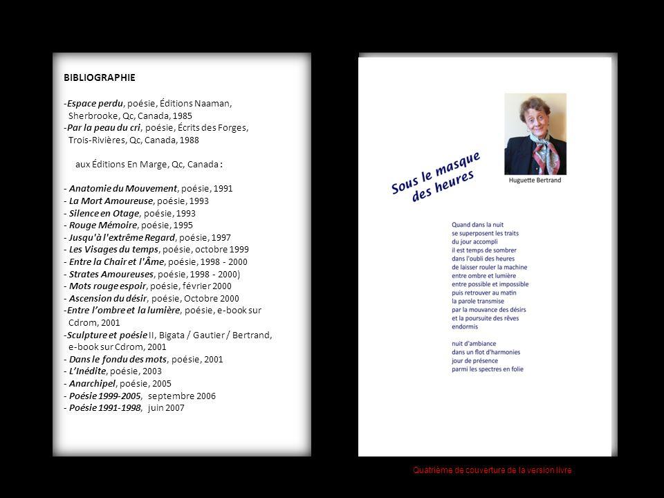 BIBLIOGRAPHIE -Espace perdu, poésie, Éditions Naaman, Sherbrooke, Qc, Canada, 1985 -Par la peau du cri, poésie, Écrits des Forges, Trois-Rivières, Qc,