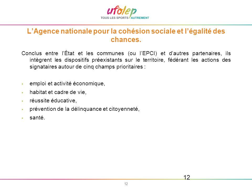 12 LAgence nationale pour la cohésion sociale et légalité des chances. Conclus entre lÉtat et les communes (ou lEPCI) et dautres partenaires, ils intè
