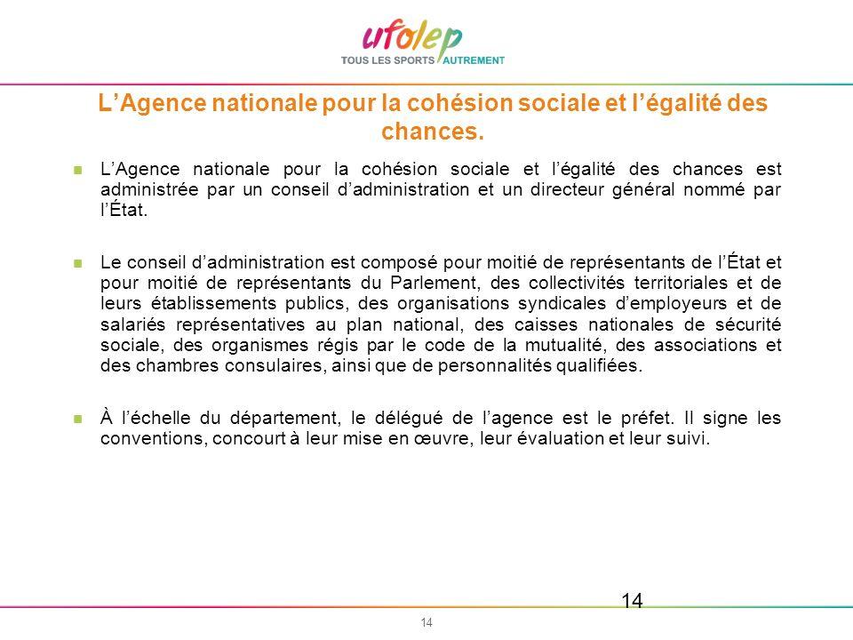 14 LAgence nationale pour la cohésion sociale et légalité des chances. LAgence nationale pour la cohésion sociale et légalité des chances est administ