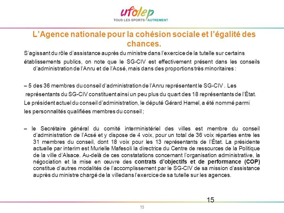 15 LAgence nationale pour la cohésion sociale et légalité des chances. Sagissant du rôle dassistance auprès du ministre dans lexercice de la tutelle s