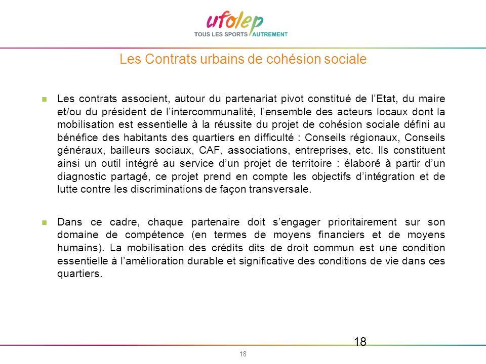 18 Les Contrats urbains de cohésion sociale Les contrats associent, autour du partenariat pivot constitué de lEtat, du maire et/ou du président de lin