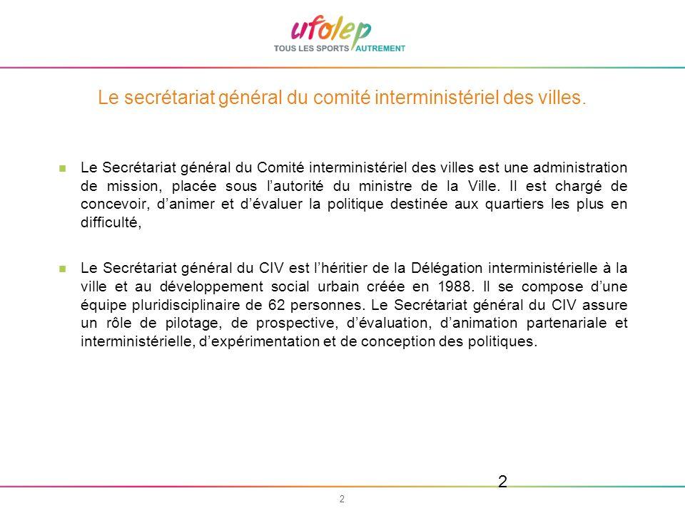 3 3 Le secrétariat général du comité interministériel des villes.