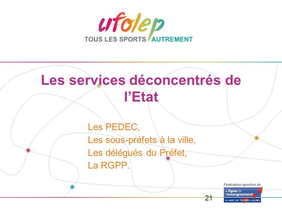 21 Les services déconcentrés de lEtat Les PEDEC, Les sous-préfets à la ville, Les délégués du Préfet, La RGPP.