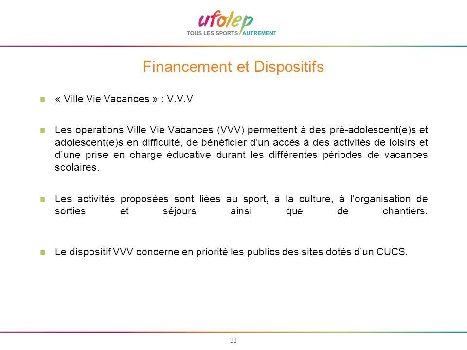 33 Financement et Dispositifs « Ville Vie Vacances » : V.V.V Les opérations Ville Vie Vacances (VVV) permettent à des pré-adolescent(e)s et adolescent