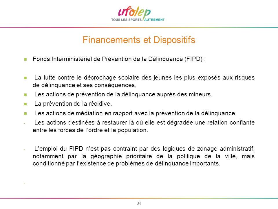 34 Financements et Dispositifs Fonds Interministériel de Prévention de la Délinquance (FIPD) : La lutte contre le décrochage scolaire des jeunes les p