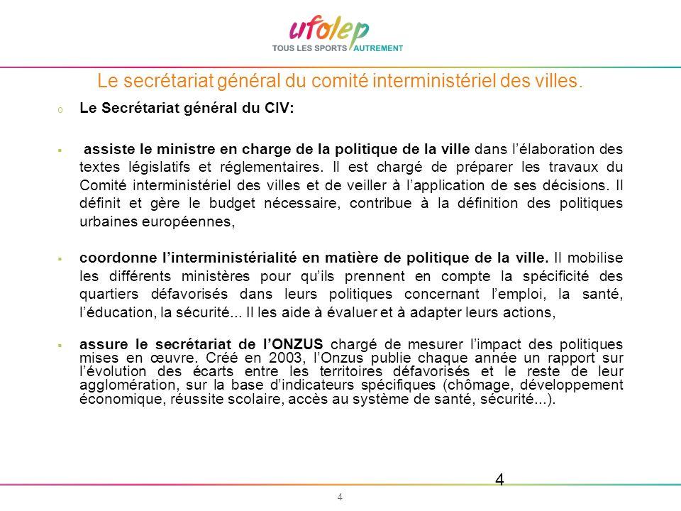 5 5 Le secrétariat général du comité interministériel des villes.