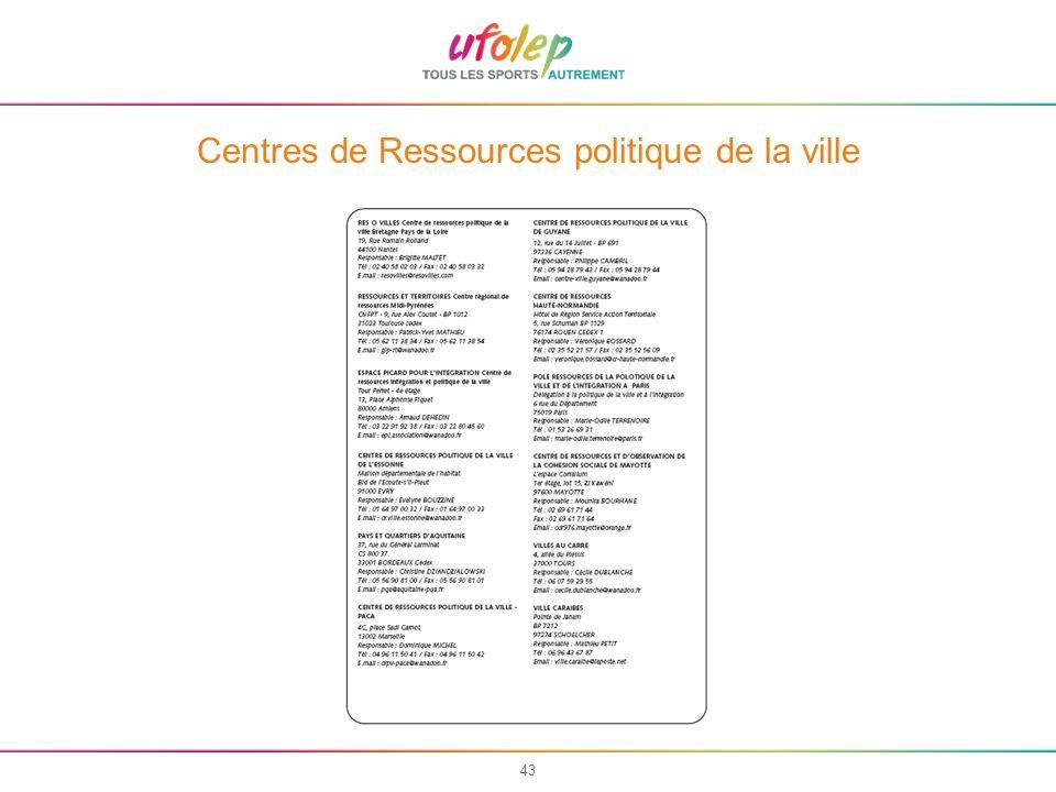 43 Centres de Ressources politique de la ville