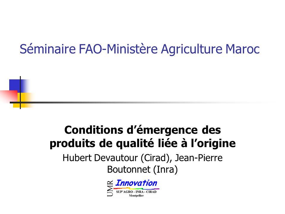 Séminaire FAO-Ministère Agriculture Maroc Conditions démergence des produits de qualité liée à lorigine Hubert Devautour (Cirad), Jean-Pierre Boutonne