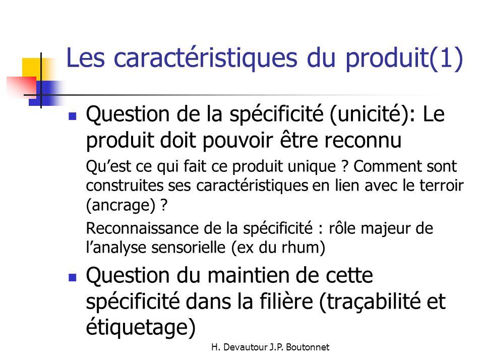 H. Devautour J.P. Boutonnet Les caractéristiques du produit(1) Question de la spécificité (unicité): Le produit doit pouvoir être reconnu Quest ce qui