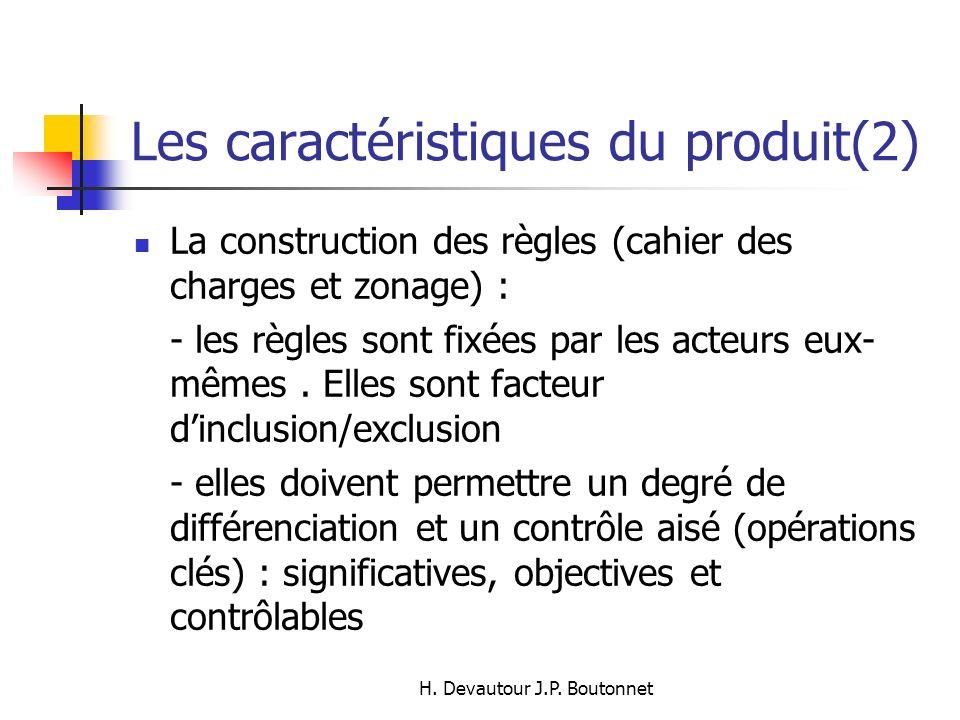 H. Devautour J.P. Boutonnet Les caractéristiques du produit(2) La construction des règles (cahier des charges et zonage) : - les règles sont fixées pa