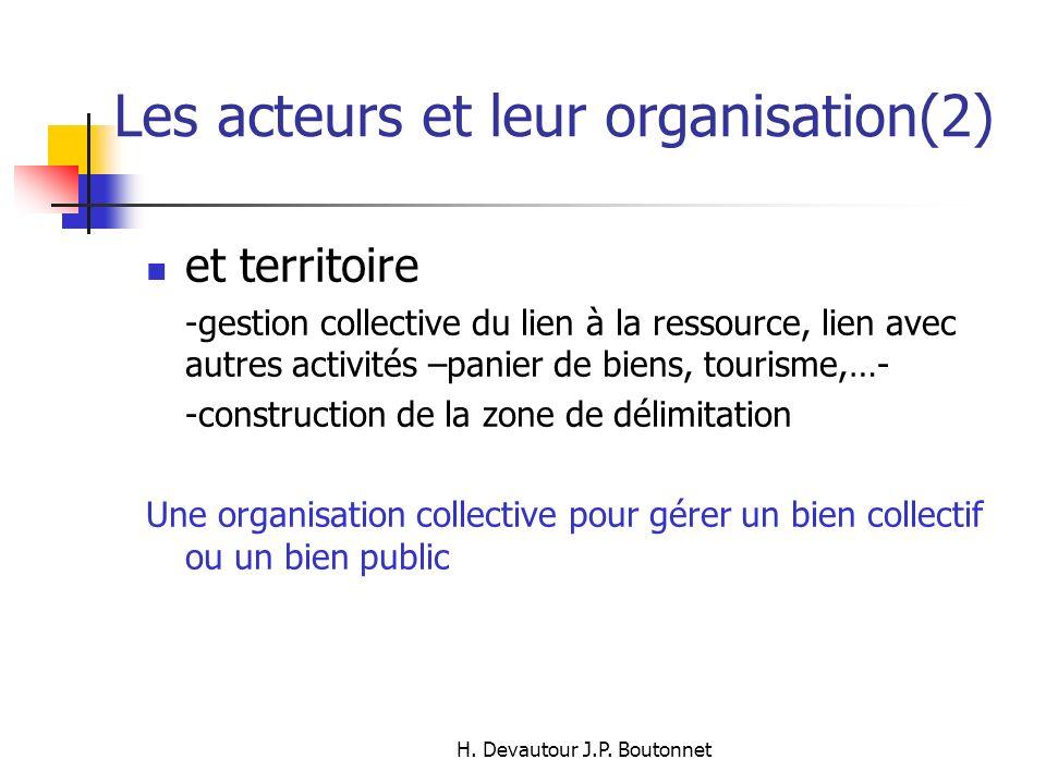H. Devautour J.P. Boutonnet Les acteurs et leur organisation(2) et territoire -gestion collective du lien à la ressource, lien avec autres activités –