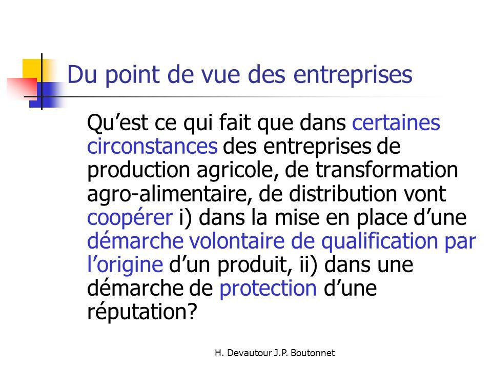 H. Devautour J.P. Boutonnet Quest ce qui fait que dans certaines circonstances des entreprises de production agricole, de transformation agro-alimenta
