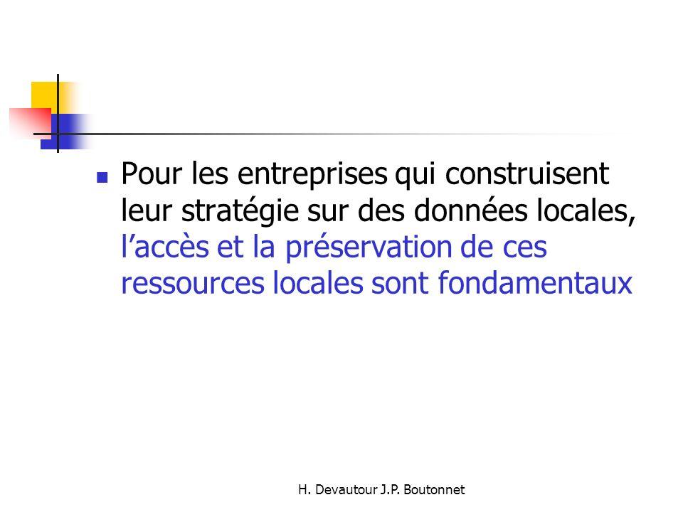 H. Devautour J.P. Boutonnet Pour les entreprises qui construisent leur stratégie sur des données locales, laccès et la préservation de ces ressources
