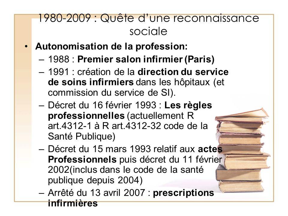 1980-2009 : Quête dune reconnaissance sociale Autonomisation de la profession: –1988 : Premier salon infirmier (Paris) –1991 : création de la directio