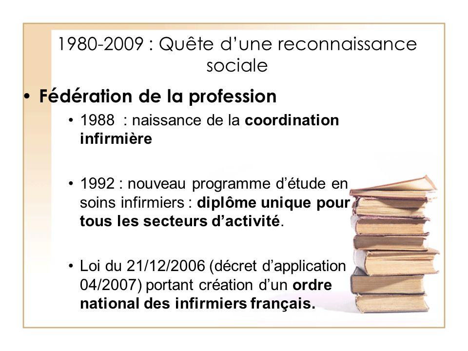 1980-2009 : Quête dune reconnaissance sociale Fédération de la profession 1988 : naissance de la coordination infirmière 1992 : nouveau programme détu