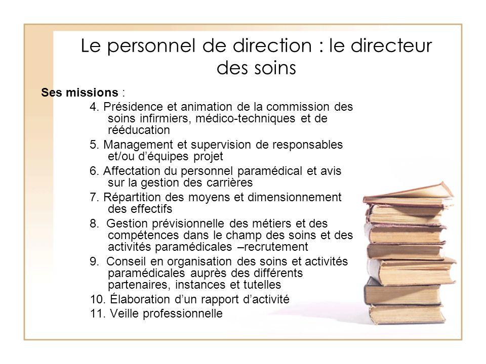 Le personnel de direction : le directeur des soins Ses missions : 4. Présidence et animation de la commission des soins infirmiers, médico-techniques