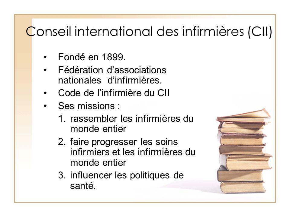 Conseil international des infirmières (CII) Fondé en 1899. Fédération dassociations nationales dinfirmières. Code de linfirmière du CII Ses missions :