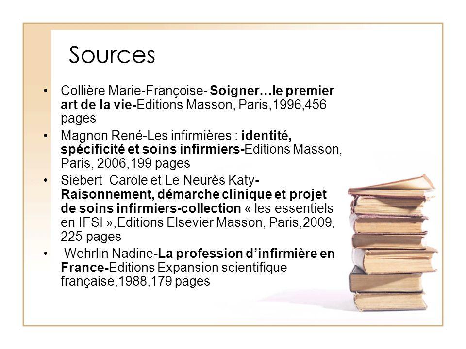 Sources Collière Marie-Françoise- Soigner…le premier art de la vie-Editions Masson, Paris,1996,456 pages Magnon René-Les infirmières : identité, spéci