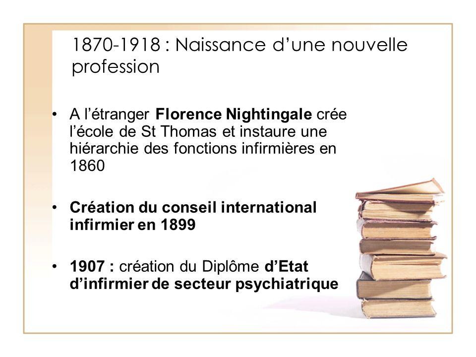 1870-1918 : Naissance dune nouvelle profession A létranger Florence Nightingale crée lécole de St Thomas et instaure une hiérarchie des fonctions infi