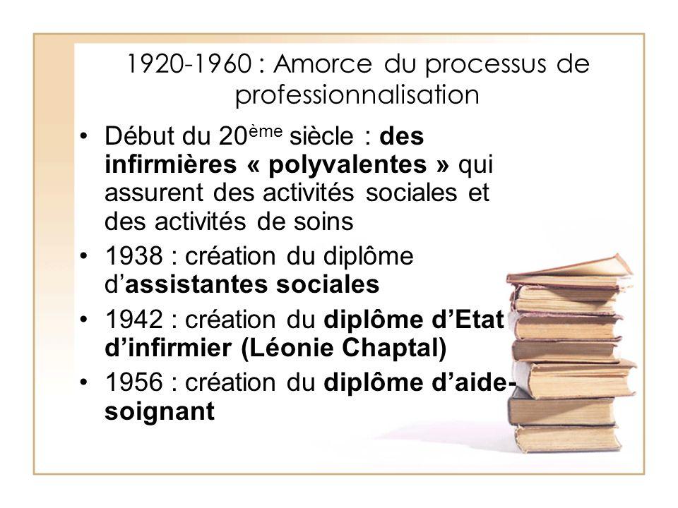 1920-1960 : Amorce du processus de professionnalisation Début du 20 ème siècle : des infirmières « polyvalentes » qui assurent des activités sociales