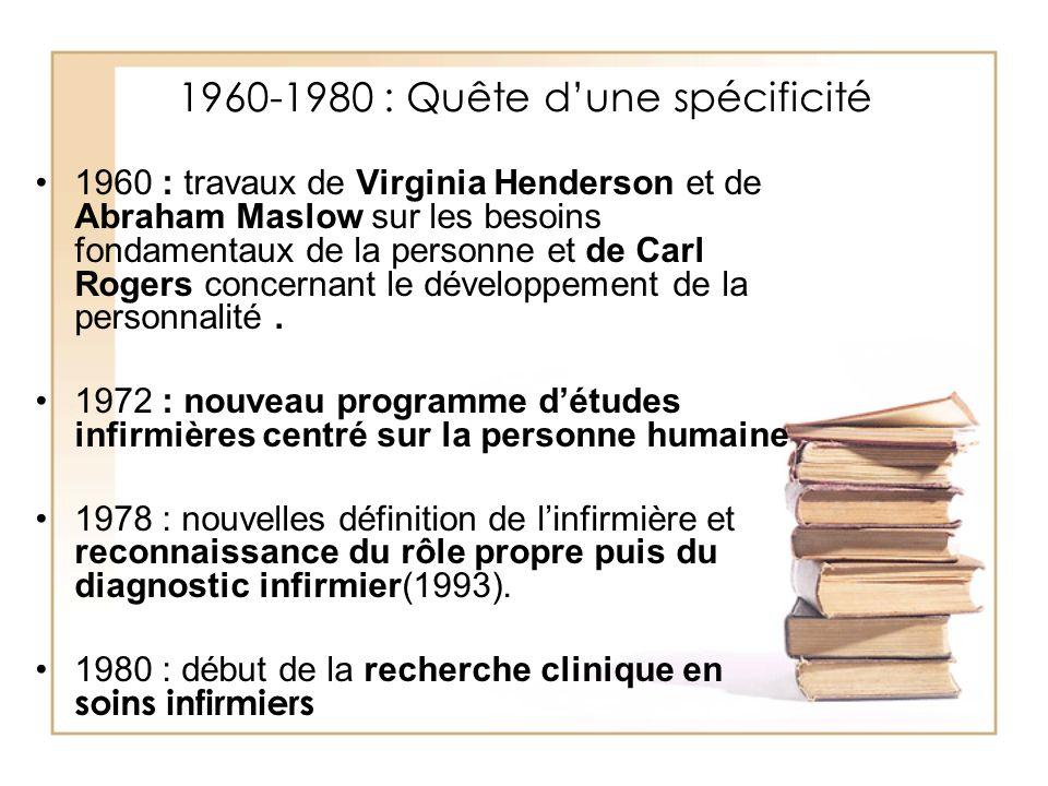 1960-1980 : Quête dune spécificité 1960 : travaux de Virginia Henderson et de Abraham Maslow sur les besoins fondamentaux de la personne et de Carl Ro