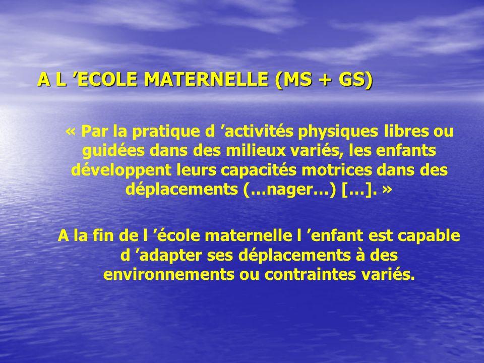 A L ECOLE MATERNELLE (MS + GS) « Par la pratique d activités physiques libres ou guidées dans des milieux variés, les enfants développent leurs capacités motrices dans des déplacements (…nager…) […].