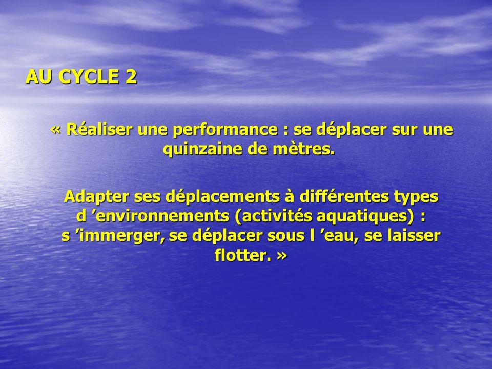 AU CYCLE 2 « Réaliser une performance : se déplacer sur une quinzaine de mètres.