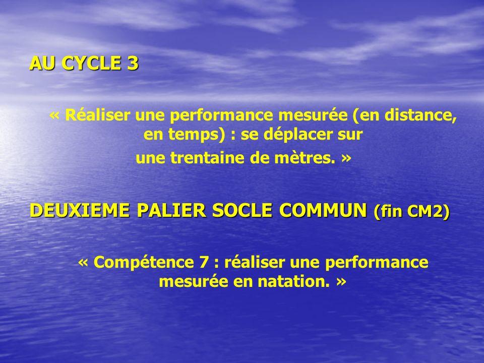 AU CYCLE 3 « Réaliser une performance mesurée (en distance, en temps) : se déplacer sur une trentaine de mètres.