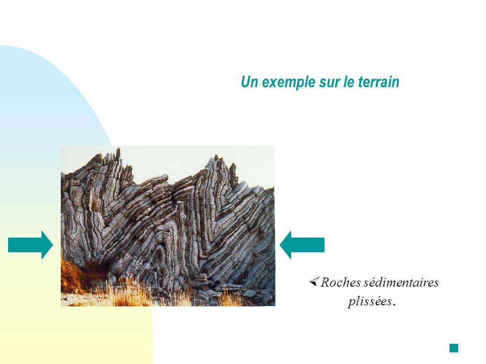 Roches sédimentaires plissées. Un exemple sur le terrain