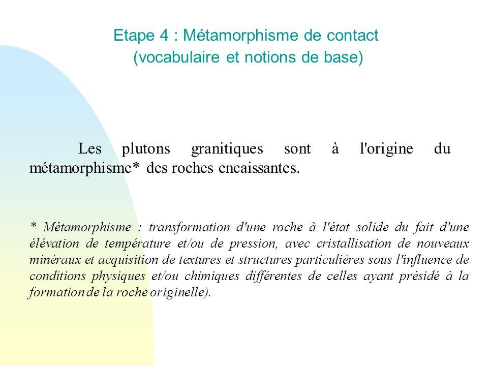 Etape 4 : Métamorphisme de contact (vocabulaire et notions de base) Les plutons granitiques sont à l'origine du métamorphisme* des roches encaissantes