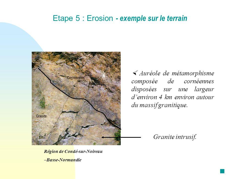 Etape 5 : Erosion - exemple sur le terrain Auréole de métamorphisme composée de cornéennes disposées sur une largeur denviron 4 km environ autour du m