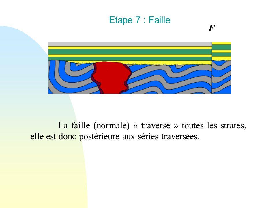 Etape 7 : Faille La faille (normale) « traverse » toutes les strates, elle est donc postérieure aux séries traversées. F
