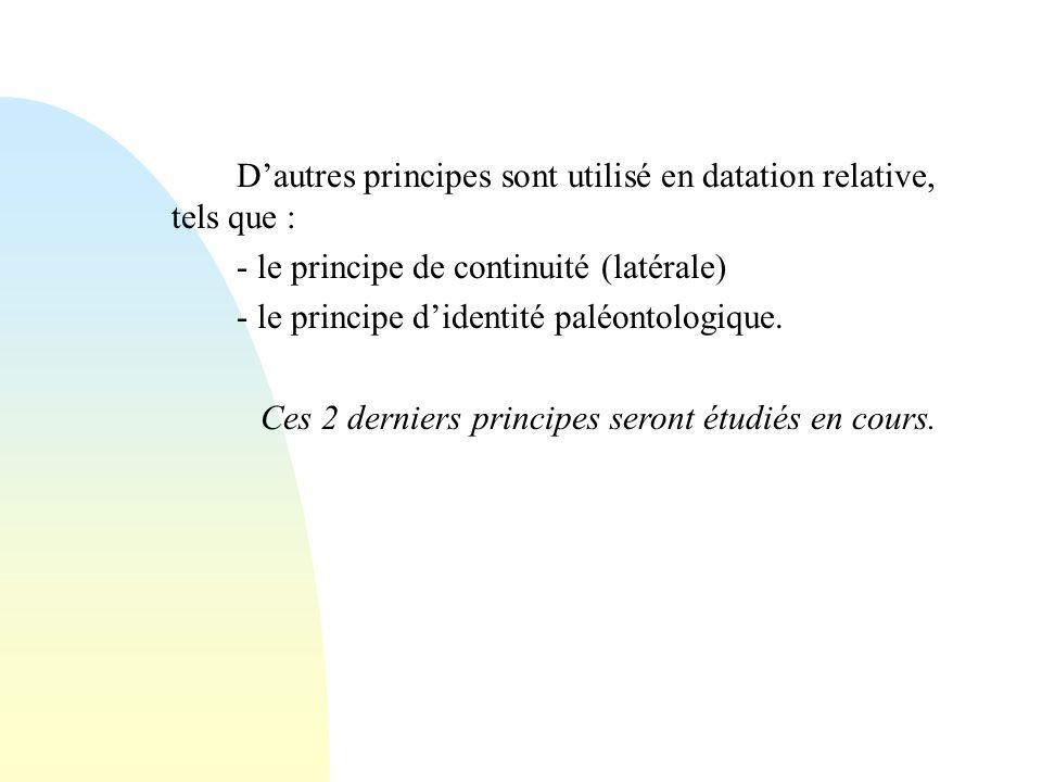 Dautres principes sont utilisé en datation relative, tels que : - le principe de continuité (latérale) - le principe didentité paléontologique. Ces 2