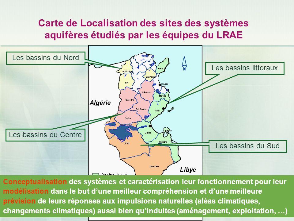 Carte de Localisation des sites des systèmes aquifères étudiés par les équipes du LRAE Les bassins du Nord Les bassins littoraux Les bassins du Sud Le
