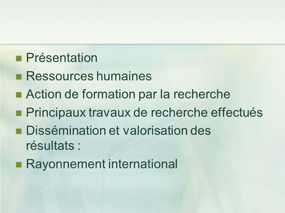 Présentation Ressources humaines Action de formation par la recherche Principaux travaux de recherche effectués Dissémination et valorisation des résu