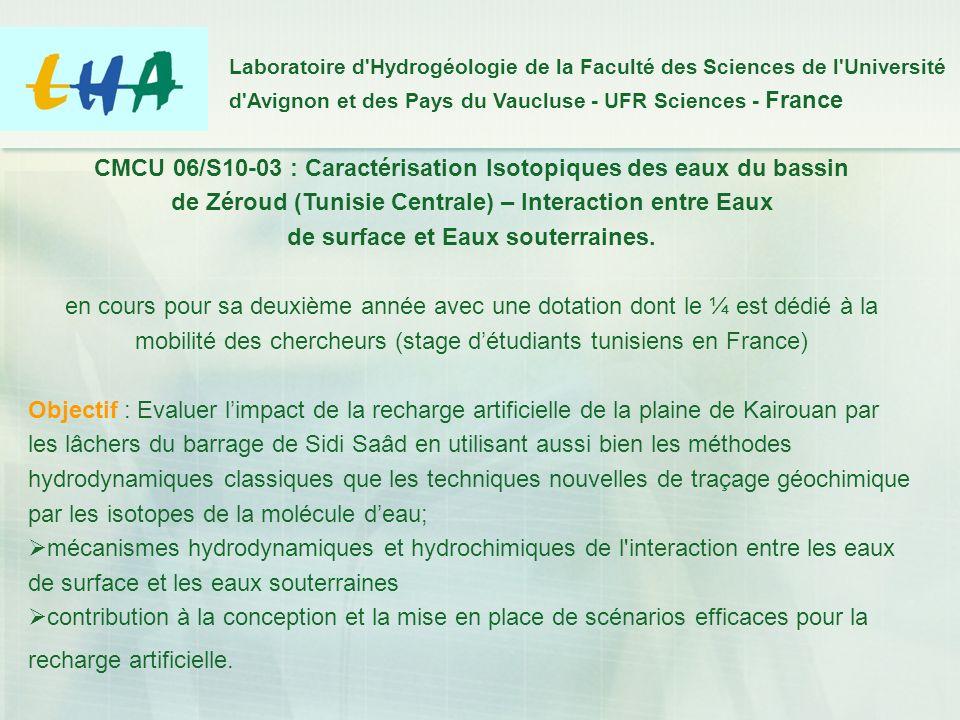 CMCU 06/S10-03 : Caractérisation Isotopiques des eaux du bassin de Zéroud (Tunisie Centrale) – Interaction entre Eaux de surface et Eaux souterraines.